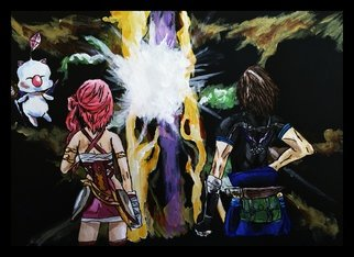 Charlie Laquidara; Time Crux, 2014, Original Painting Acrylic, 9 x 12 inches. Artwork description: 241          Original Acrylic on Black PaperFinal Fantasy XIII Noel and Serah Fanart            ...