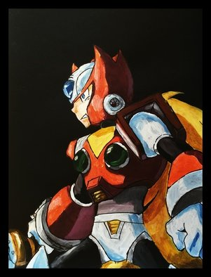 Charlie Laquidara; Zero, 2014, Original Painting Acrylic, 9 x 12 inches. Artwork description: 241           Original Acrylic on Black PaperZero Mega Man Fanart             ...