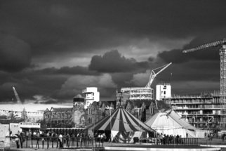 Karen Morecroft; Big Top, 2007, Original Photography Black and White, 12 x 8 inches. Artwork description: 241  Big Top tents against the stormy skies of New Islington, Manchester. Taken during the Urban Folk festival.  ...