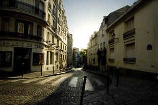 Karen Morecroft; Golden Street, 2009, Original Photography Color, 12 x 8 inches. Artwork description: 241  Sunlight bouncing off the cobbles of a Montmartre Street, Paris at dusk.  ...