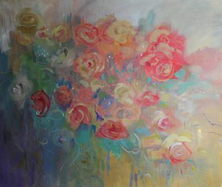 Karen Burnette Garner; Glorious, 2010, Original Painting Acrylic, 24 x 20 inches. Artwork description: 241  floral, original, abstract, painting, peach, yellow, blue, canvas, contemporary ...