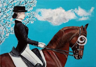 Katarina Radenkovic; Jockey, 2014, Original Painting Oil, 50 x 30 cm. Artwork description: 241 She doing something traditional. She realizes thatlife is here, just now . . . ...