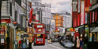 Katarina Radenkovic; London, 2014, Original Painting Oil, 140 x 70 cm. Artwork description: 241 I spent some time in London, I remember this wonderful city like that. . ....