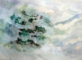 Diane Kastensmith Bradbury, Fog on Glastonbury Hill, 2007, Original Watercolor, size_width{Fog_on_Glastonbury_Hill-1205305905.jpg} X 22 x  inches