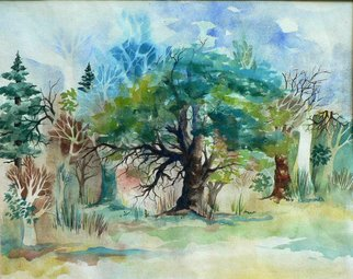Diane Kastensmith Bradbury, Spring Trees 1, 1997, Original Watercolor, size_width{Spring_Trees_1-1205300989.jpg} X 19 x  inches