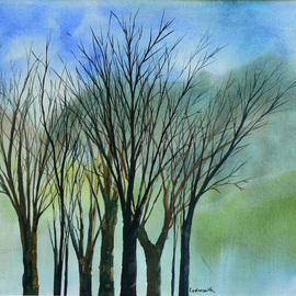 Diane Kastensmith Bradbury, Spring Trees 28, 2000, Original Watercolor, size_width{Spring_Trees_28-1205308419.jpg} X 19 x  inches