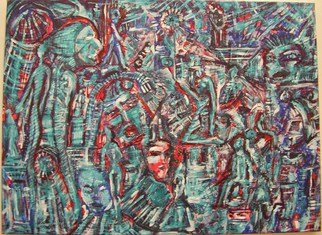 Katerina Karatza; People In City, 2008, Original Painting Acrylic, 60 x 40 inches.