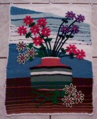 Kathie Freeman; Bouquet Interrupted, 2012, Original Fiber, 19 x 25 inches. Artwork description: 241  This hand woven tapestry was created from odds and ends of yarn left over from other projects. It is hand washable, and has loops across the top for a hanging rod. ...