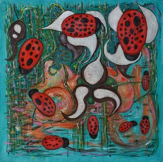 Ekaterina Popova; Water, 2017, Original other, 57 x 58 inches. Artwork description: 241 pond, symbolism, turquoise, water, flowers, ladybugs...