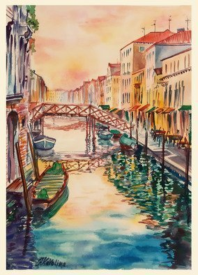 Natalia Kavolina; A72 Houses And Reflections, 2018, Original Watercolor, 28 x 40 cm. Artwork description: 241 Italy, Venice, canal, sunset, summer, travelling, tourism, houses, water, reflections...