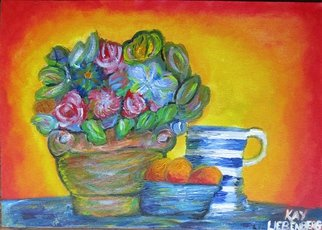 Kay Liebenberg; Sunrise Of Flowers, 2015, Original Painting Acrylic, 47 x 33 cm. Artwork description: 241  Flowers, Sun, Sunrise, Warm, Rose, Bowl, Fruit, Still Life, Sunny, Red, Blue, Jug, Blue and white, beautiful, expressive, expressionistic, Impressionism  ...
