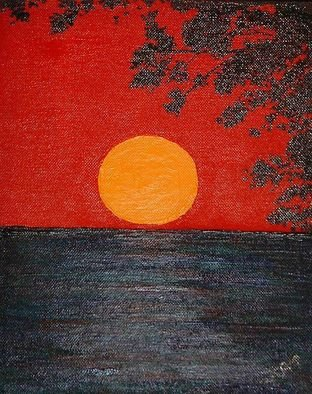 Katie Gunther; Red Sunset I, 2007, Original Painting Acrylic, 8 x 10 inches.