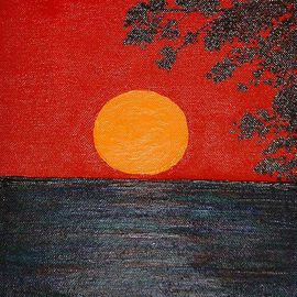 Katie Gunther, , , Original Painting Acrylic, size_width{Red_Sunset_I-1199383031.jpg} X 10 inches