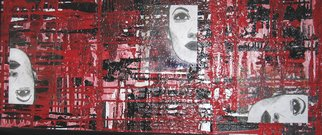 Katie Gunther; Three Faces, 2004, Original Mixed Media, 48 x 20 inches. Artwork description: 241  Abstract acyrlic painting and pen and ink drawing on plxiglass. ...