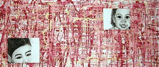 Katie Gunther; Youth, 2005, Original Mixed Media, 48 x 20 inches. Artwork description: 241  Abstract acyrlic painting and pen and ink drawing on plxiglass. ...
