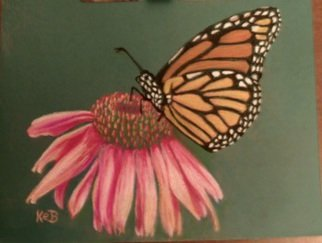 Karen Bernard; Monarch At Rest, 2014, Original Pastel, 10 x 8 inches. Artwork description: 241   Hand drawn original pastel of monarch butterfly resting on pink flower. Pencil pastel on green pastel paper.  ...
