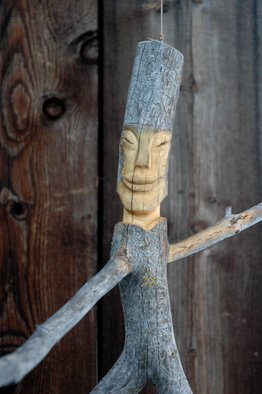 Steve Kiene; Dancer Closeup, 2015, Original Sculpture Wood, 30 x 30 inches. Artwork description: 241 wood sculpture carving face branch tree barktree- spirit forest- friend    ...
