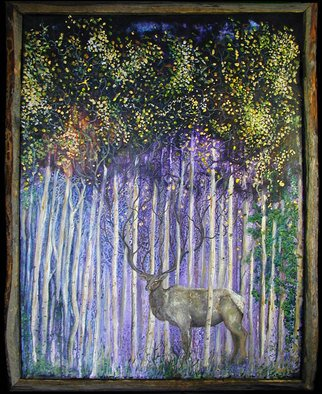 Steve Kiene; Elklination, 2010, Original Painting Acrylic, 25 x 34 inches. Artwork description: 241  Elk Aspen Trees  ...