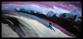 Steve Kiene; Tele Skier, 1997, Original Printmaking Giclee - Open Edition, 46 x 21 inches. Artwork description: 241  Telemark Skiing Mountains Snow Storm Impressionistic ...