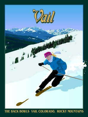 Steve Kiene; Vail Poster, 2015, Original Digital Drawing, 18 x 24 inches. Artwork description: 241  Ski Skiing Telemark Mountains Vail Colorado Back Bowles Holy Cross Snow Girl Blonde Tele      ...
