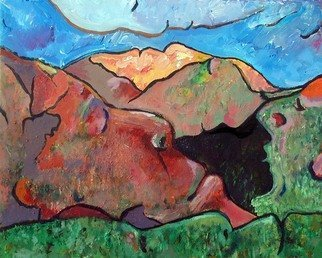 Steve Kiene; Mountainfaces, 2007, Original Painting Acrylic, 24 x 18 inches. Artwork description: 241  7 profiles of faces can be found in this composition ...