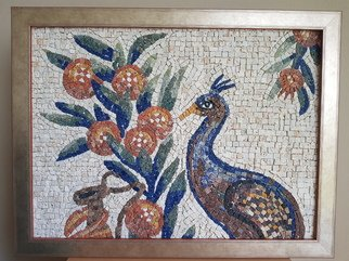 Julija Katranzi; Peacock, 2018, Original Mosaic, 58 x 44 cm. Artwork description: 241 Inspired by ancient Roman mosaic. Made in technique of Bysantium Mosaic...