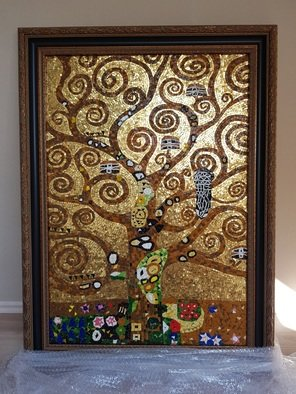 Julija Katranzi; Tree Of Life, 2019, Original Mosaic, 73 x 99 cm. Artwork description: 241 Work is done from Dona Murano Smalti tiles and Dona Murano 24k Gold tiles. Inspired by Gustav Klimt art. Work is done in Melangde and Classic Roman mosaic technique...