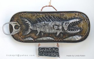 L. Kelen; SardineTin Number10, 2009, Original Metalsmith, 7 x 4 inches. Artwork description: 241 Sardine tin altered with chasing/ repousse work. . . one of three showing in Chicago at the Woman Made Gallery, January 23- February26.TEL. . . 312 738 0400...