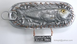 L. Kelen; SardineTin Number7, 2007, Original Metalsmith, 7 x 3 inches. Artwork description: 241  Results of chasing and repousse. . .wire, glass, copper and aluminum scraps.The back can be viewed at  lindakelen- artings. blogspot....