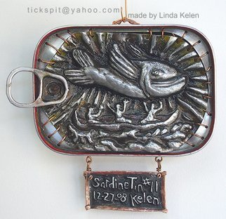 L. Kelen; SardineTin Number 11, 2009, Original Metalsmith, 5 x 5 inches. Artwork description: 241 Sardine tin altered by chasing/ repousse work is one of three showing in Chicago at the Woman Made Gallery. . . January 23- February 26.TEL. . . 312 738 0400...