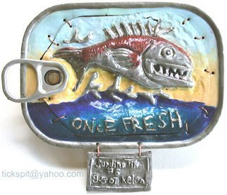 L. Kelen; Sardine Tin Number6, 2007, Original Metalsmith, 5 x 4 inches. Artwork description: 241 Once Fresh Fish. . .Sardine Tin Number 6. . . . .was sold at the Haystack Mountain School of Crafts auction on June 12, 2008. . . I have begun and other round of SardineTins which will be posted as I complete them. . . . slowly, as I' m doing other artings also....