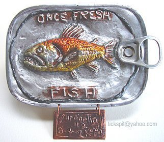 L. Kelen; Sardine Tin Number 2, 2007, Original Metalsmith, 5 x 4 inches. Artwork description: 241 Results of chasing and repousse....