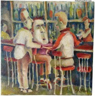 L. Kelen; Weary Traveler, 2015, Original Painting Oil, 8 x 8 inches. Artwork description: 241  bar, saloon, interior, boys, meeting, casual.  Only a cell phone photograph, it will be replaced by a high quality professional photo later.  I wanted to show what I was up to. ...