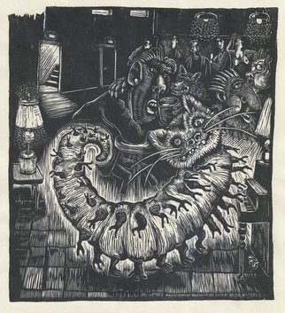 L. Kelen; Betty S Nightclub, 2017, Original Printmaking Woodcut, 10 x 11 inches. Artwork description: 241 Shes out, wild and dangerousMore than just a Protector Cat, and Cricket Killer, my 7 Pound Betty alias Assassin Cat has an Alternative Life which I have finally discovered, cut INTO wood and now have prints which prove her whereabouts at night, while the rest of ...