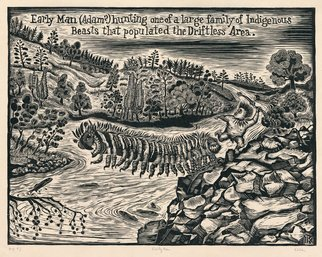 L. Kelen; early man, 2017, Original Woodcut, 18.7 x 15.3 inches. Artwork description: 241 Landscape, Driftless Area, Garden of Eden, river, hills, trees, beast, hunting, fish, river...