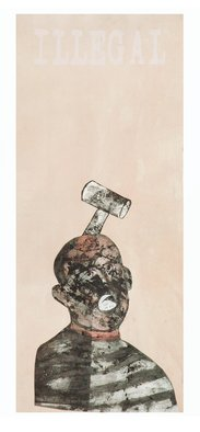 Tatana Kellner; Illegal, 2007, Original Mixed Media, 20 x 50 inches. Artwork description: 241  transfer drawing collage ...