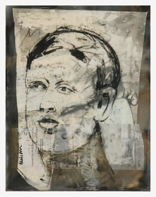 Tatana Kellner; Untitled 2, 2008, Original Mixed Media, 16 x 20 inches. Artwork description: 241  transfer drawing, encaustic, collage, mounted on wood ...