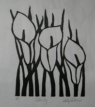Artist: Kelly Parker's, title: Calla Lily, 2010, Printmaking Linoleum