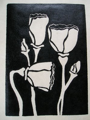 Kelly Parker; Poppies, 2010, Original Printmaking Linoleum, 12 x 13 inches. Artwork description: 241  print, printmaking, poppies, black and white, prints,  ...