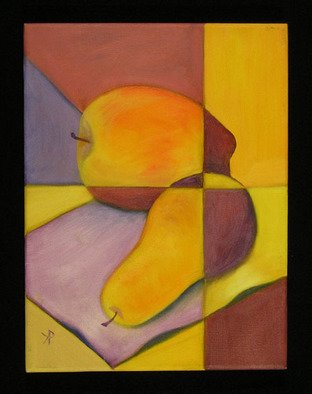 Kelly Parker; VY Still Life, 2010, Original Painting Oil, 9 x 12 inches. Artwork description: 241  still life, fruit, pear, pears, apple, apples, oil, oil painting, divided, 2 color, 2- color, violet, purple, yellow, yellows, complimentary colors,  ...