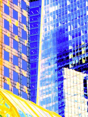 Ken Lerner; Building Reflections 5g, 2018, Original Photography Color, 30 x 40 inches. Artwork description: 241 Building Reflections 5g is an abstract of the buildings and reflections of the buildings at the World Financial center in NYC. This is a limited edition print number 1 of 3- signed, numbered, and dated upon purchase...