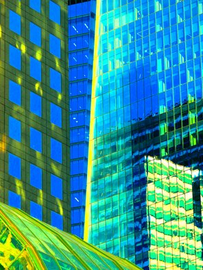 Ken Lerner; Building Reflections 5k, 2018, Original Photography Color, 30 x 40 inches. Artwork description: 241 Building Reflections 5k is an abstract of the buildings and reflections of the buildings at the World Financial Center in NYC - this is a limited edition print number 1 of 3- signed , numbered, and dated upon purchase...