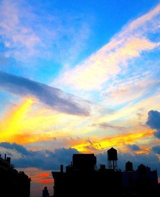 Ken Lerner; Clouds And Cityscape 130a, 2016, Original Photography Color, 16 x 20 inches. Artwork description: 241 Clouds Cityscape 130a is a cityscape of the silhouetted buildings looking west from my rooftop in late summer near sunset.  This is a limited edition print number 1 of 10 - signed, numbered, and dated when purchased...