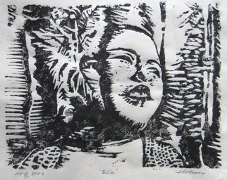 Ken Hillberry; Billie, 2014, Original Printmaking Woodcut, 6.3 x 8.3 inches. Artwork description: 241    an impressionistic capture of a brief view of the Jazz Icon.      ...