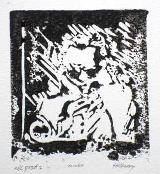 Ken Hillberry; MIles, 2014, Original Printmaking Linoleum - Open Edition, 4 x 4.6 inches. Artwork description: 241   an impressionistic capture of a brief moment of the hummingbird beginning the feeding process. . .    ...