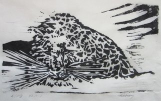 Ken Hillberry; Seethingheart, 2014, Original Printmaking Woodcut, 8.2 x 5.1 inches. Artwork description: 241      an impressionistic capture of a snow leopard, another on the endangered list.         ...