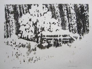 Ken Hillberry; Winterbarn, 2014, Original Printmaking Woodcut, 6.5 x 8.6 inches. Artwork description: 241     an impressionistic capture of a winter country setting. . .       ...
