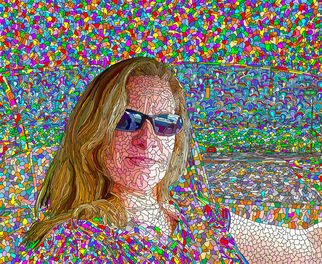 Ken Slabach; Dee, 2011, Original Digital Art, 24 x 20 inches. Artwork description: 241  Thousands of shapes and colors hand painted with a digital tablet. A friend smiling while seated in her car stands out on a surrealistic background. Signed and numbered by the artist. Includes Certificate of Authenticity. ...