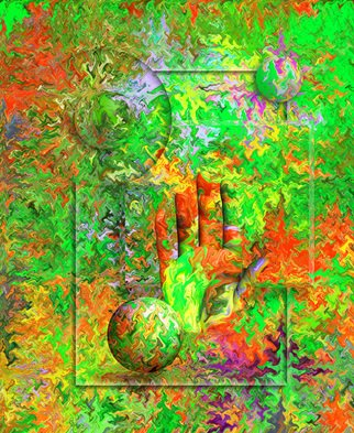 Ken Slabach; Hand, 2011, Original Digital Art, 20 x 24 inches. Artwork description: 241  Various shapes created from a digitally rendered background texture. Computer generated hand emerges with a silent wave. Shadows and light are used to create an impossible optical illusion. Signed and numbered by the artist. Includes Certificate of Authenticity. ...