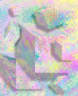 Ken Slabach; Hexahedron, 2012, Original Digital Art, 20 x 24 inches. Artwork description: 241  Pastel cubes protruding from a digitally rendered background texture. Distorted planes are shaded to create an impossible optical illusion with implied depth and substance. Manipulated by hand to create the desired effect. Signed and numbered by the artist. Includes Certificate of authenticity. ...